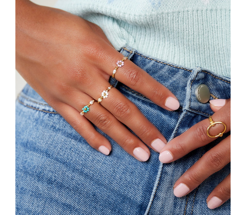 PEARL AND FLOWER RING
