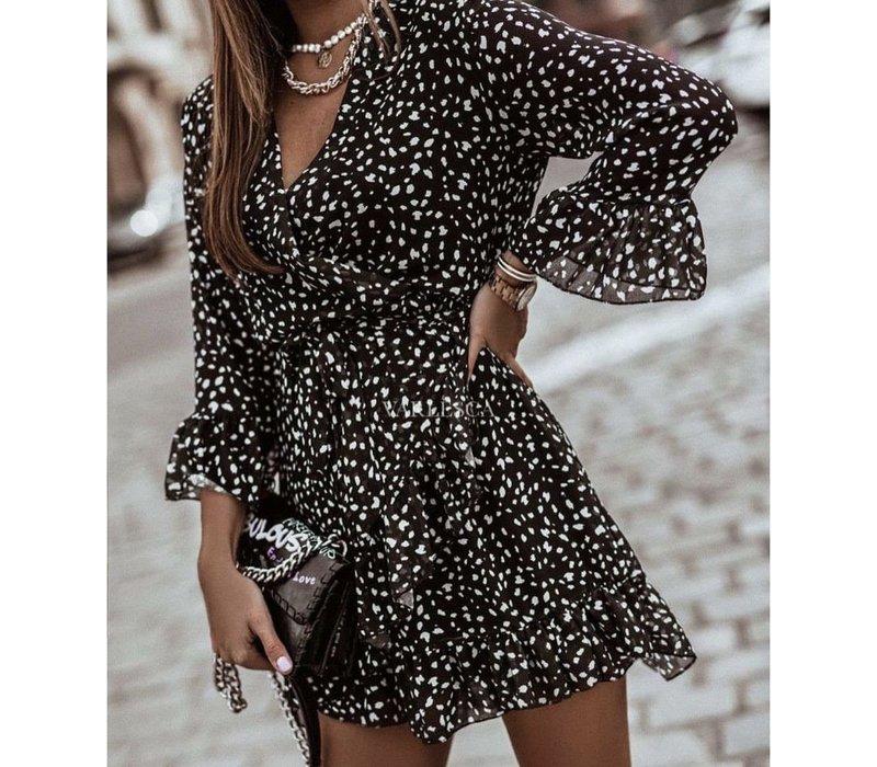 ESTELLE BLACK DOTTED DRESS - ONE SIZE