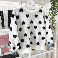 BIG HEARTED BLACK KNIT - ONE SIZE