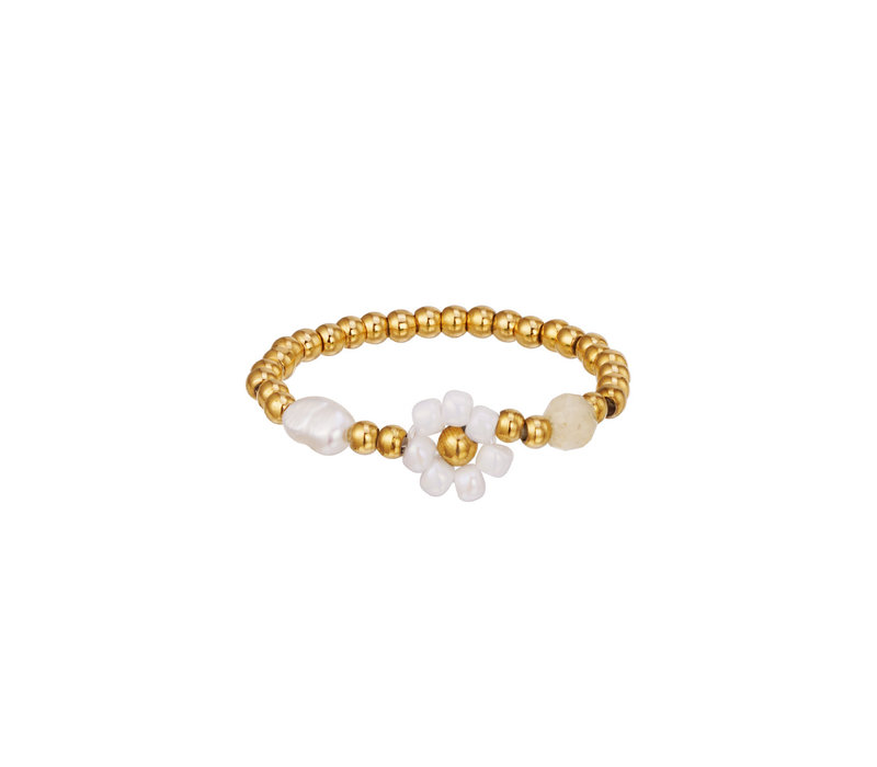 PEARL AND FLOWER RING - DAISY