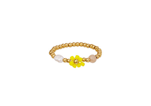 PEARL AND FLOWER RING - YELLOW FLOWER