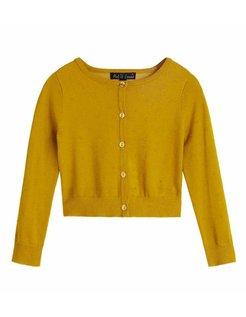 Petit Louie Cardi Roundneck Droplet Yellow