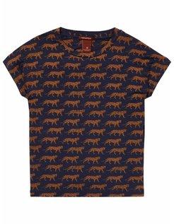 T-shirt donkerblauw met luipaarden