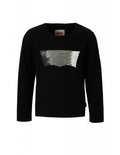 T-shirt long-sleeve zwart met pailletten logo