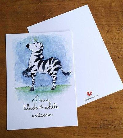 Postcard Black & White Unicorn