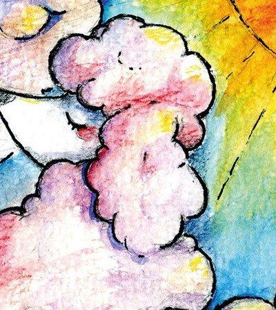 Postkarte Pudel Wolke