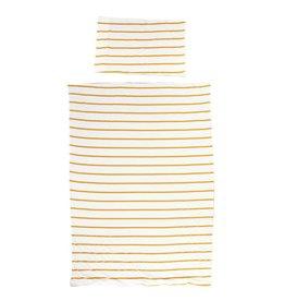 Childhome Childhome Donsovertrek + Kussensloop - 100x140 Cm - Jersey - Ochre Stripes