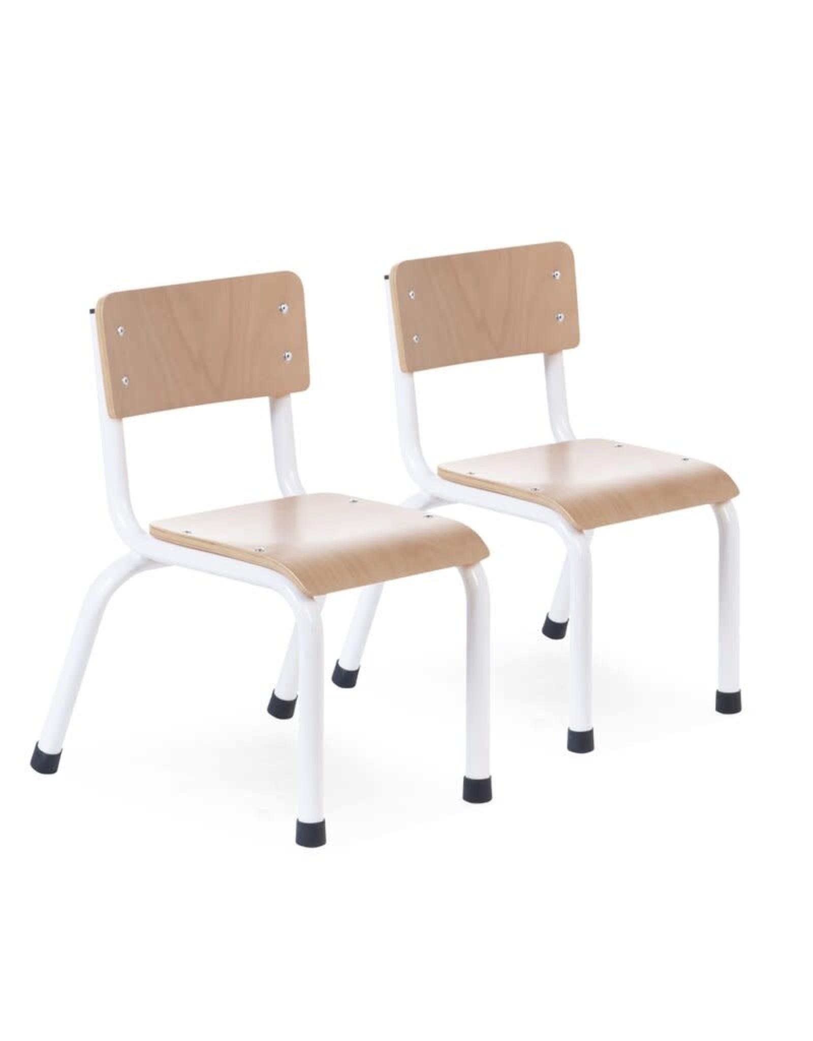Childhome Childhome Kinderstoeltjes - Metaal Hout - Naturel Wit - 2 Stuks