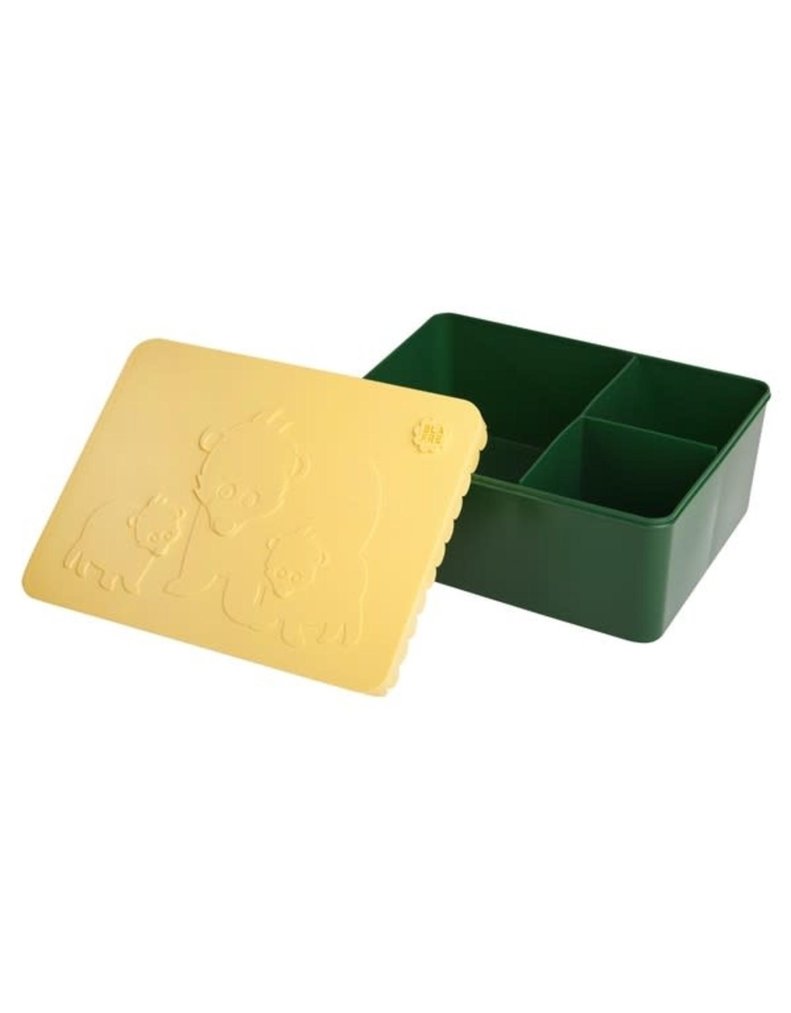 Blafre Blafre Brooddoos Bear Dark Green + Light Yellow