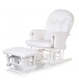 Childhome Childhome Gliding Chair Schommelstoel Rond Met Voetsteun - PU Leder Pvc Polyester - Wit