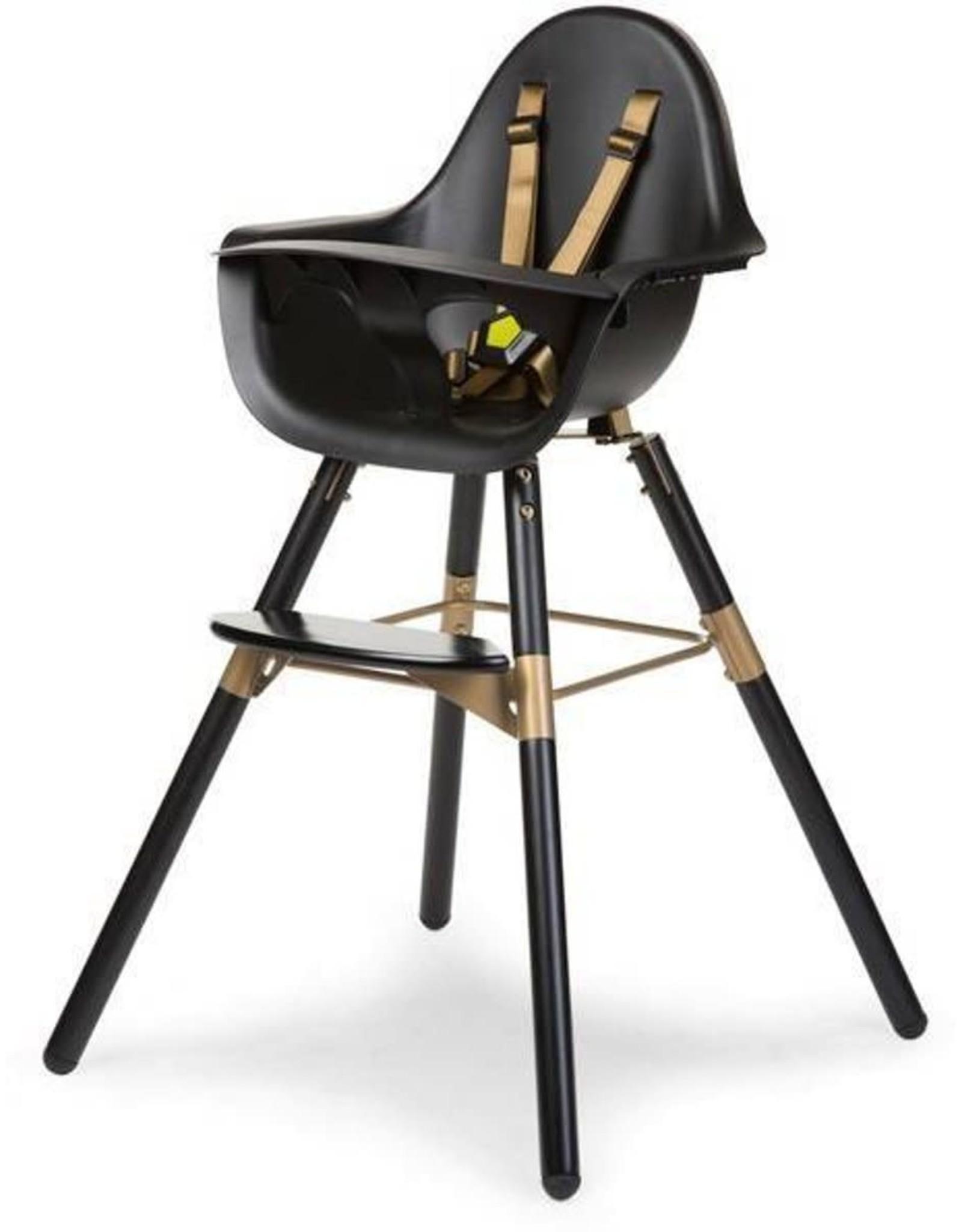 Childhome Childhome evolu 2 stoel zwart/ goud 2in1 + beugel