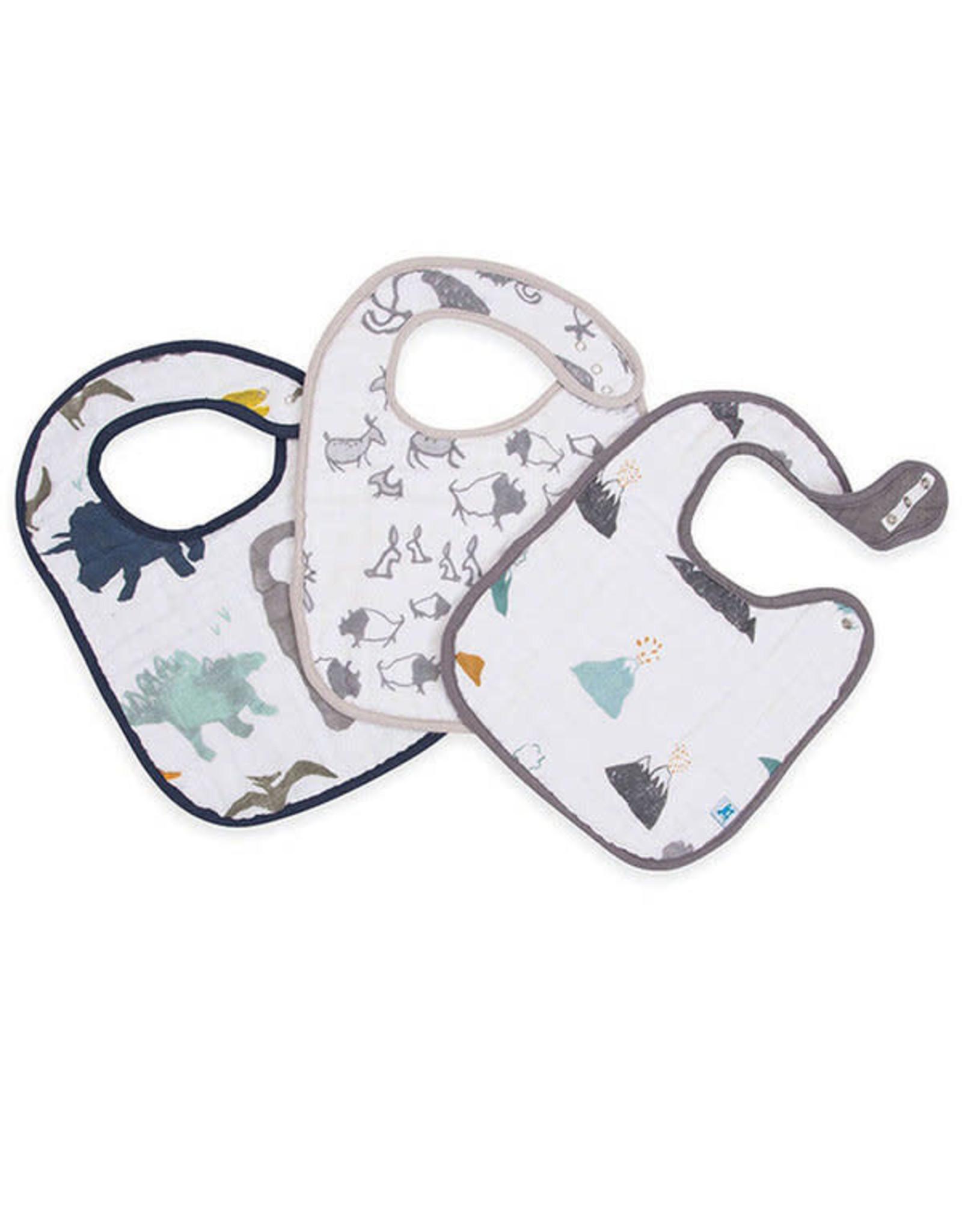 Little Unicorn Little Unicorn Cotton Bib Muslin 3-pack Dino Vrienden