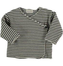 Beans Barcelona Beans Barcelona New Born T-Shirt Striped Warm Fleece Stone