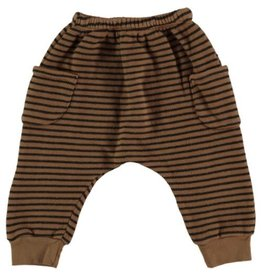 Beans Barcelona Beans Barcelona Striped Warm Fleece Pants With Pockets Caramel