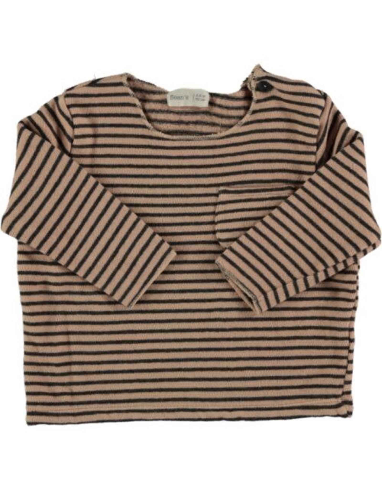 Beans Barcelona Beans Barcelona Sweater Striped Warm Fleece Nude