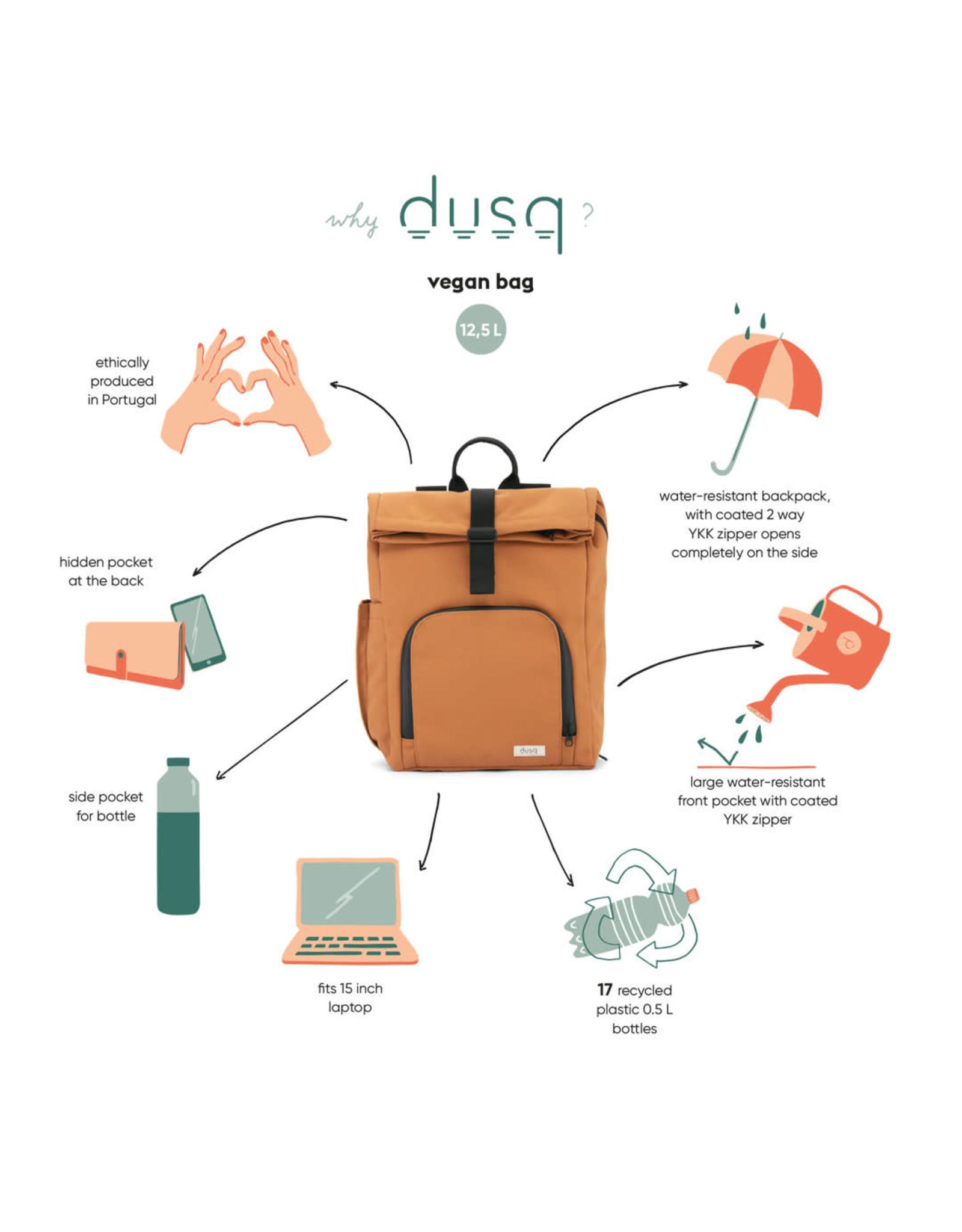 Dusq Dusq Vegan Bag Recycled PET canvas Sunset Cognac