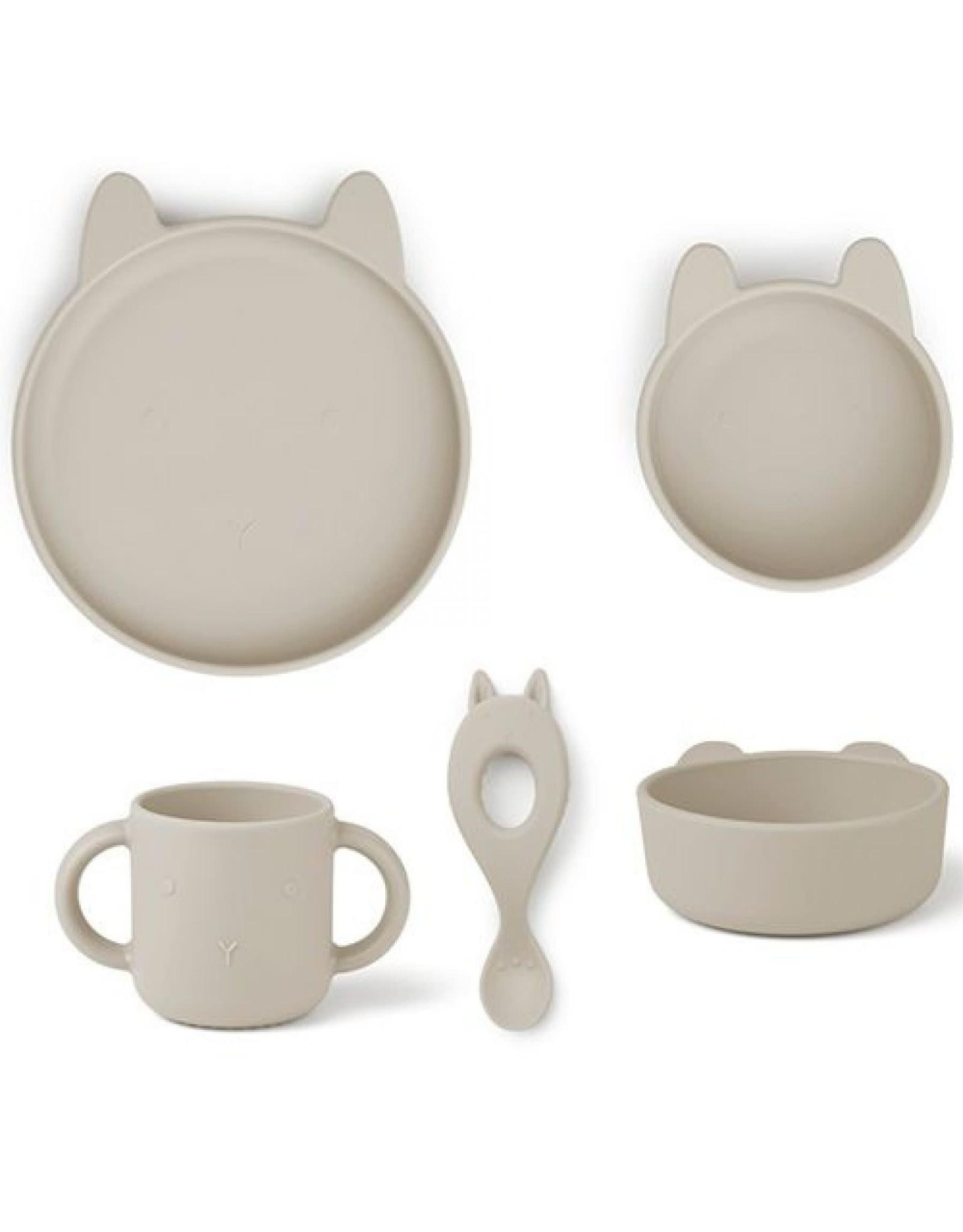Liewood Vivi Silicone Tableware - 4 Pack - Rabbit Sandy
