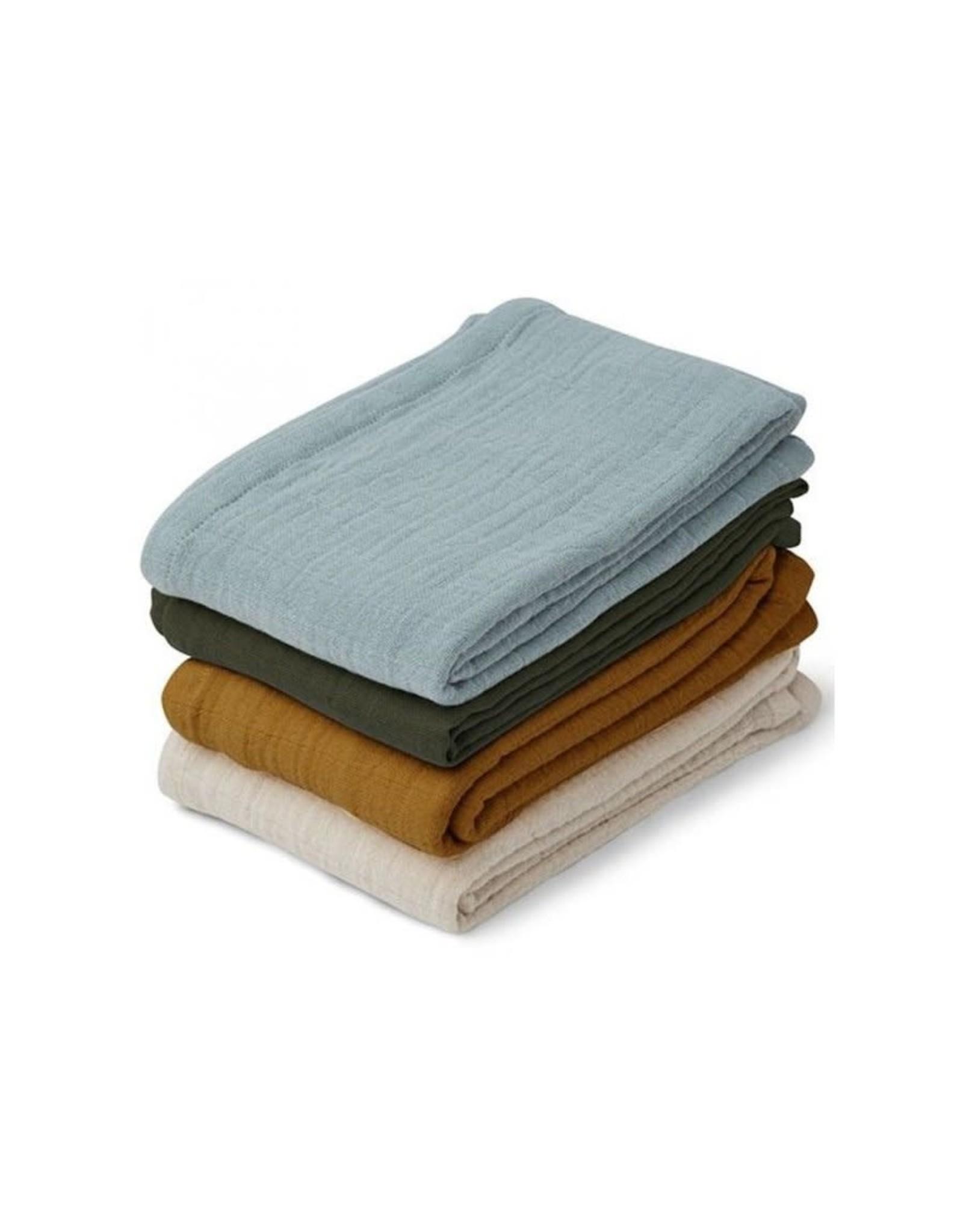Liewood Leon Muslin Cloth - 4 pack - Blue Multi Mix