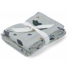 Liewood Hannah Muslin Cloth Print 2 Pack - Dino Dove Blue Mix