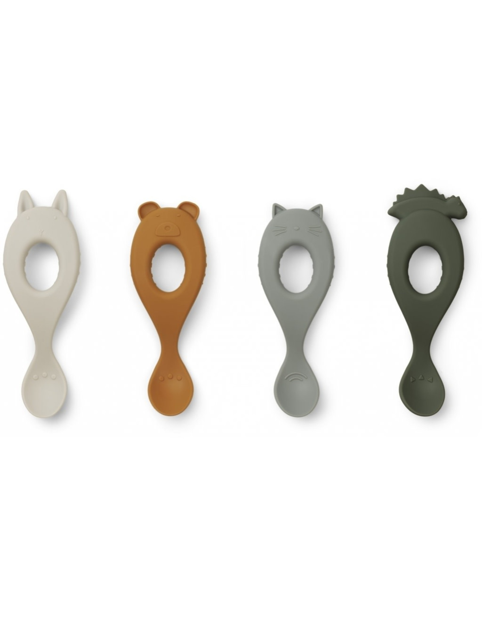 Liewood Liva Silicone Spoon - 4 Pack - Hunter Green mix