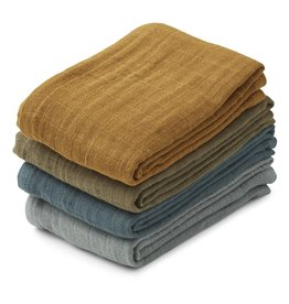 Liewood Leon Muslin Cloth - 4pack Whale Blue Multi Mix