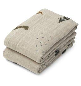 Liewood Lewis Muslin Cloth 2-pack Dino Dark Sandy Mix