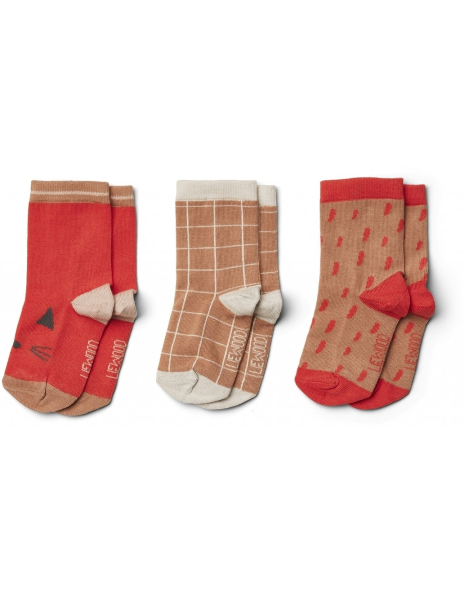 Liewood Silas Cotton Sockx - 3pack Apple Red Multi Mix