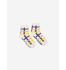 Bobo Choses Bobo Choses Blue Checkered Short Socks