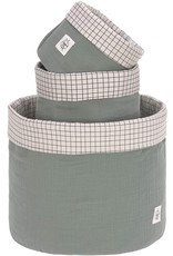 Lassig Lassig Storage Basket Set 3pcs Muslin Green