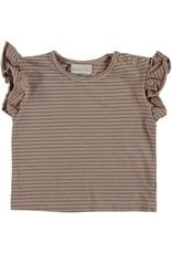 Beans Barcelona Beans Barcelona CLAM-Striped Jersey Flounce T-shirt Pink