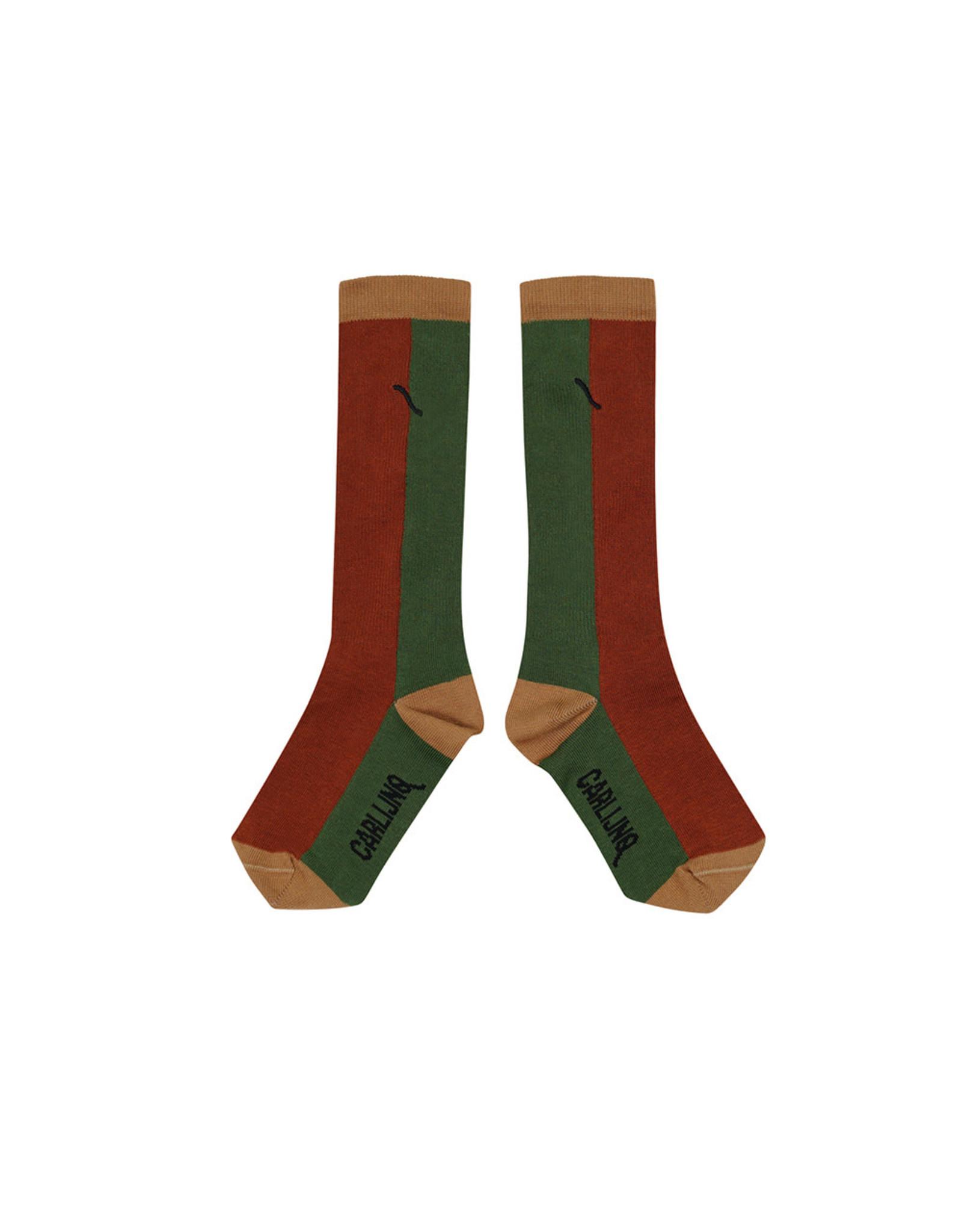 Carlijn Q Carlijn Q Knee Socks - Color Block Ginger/Green