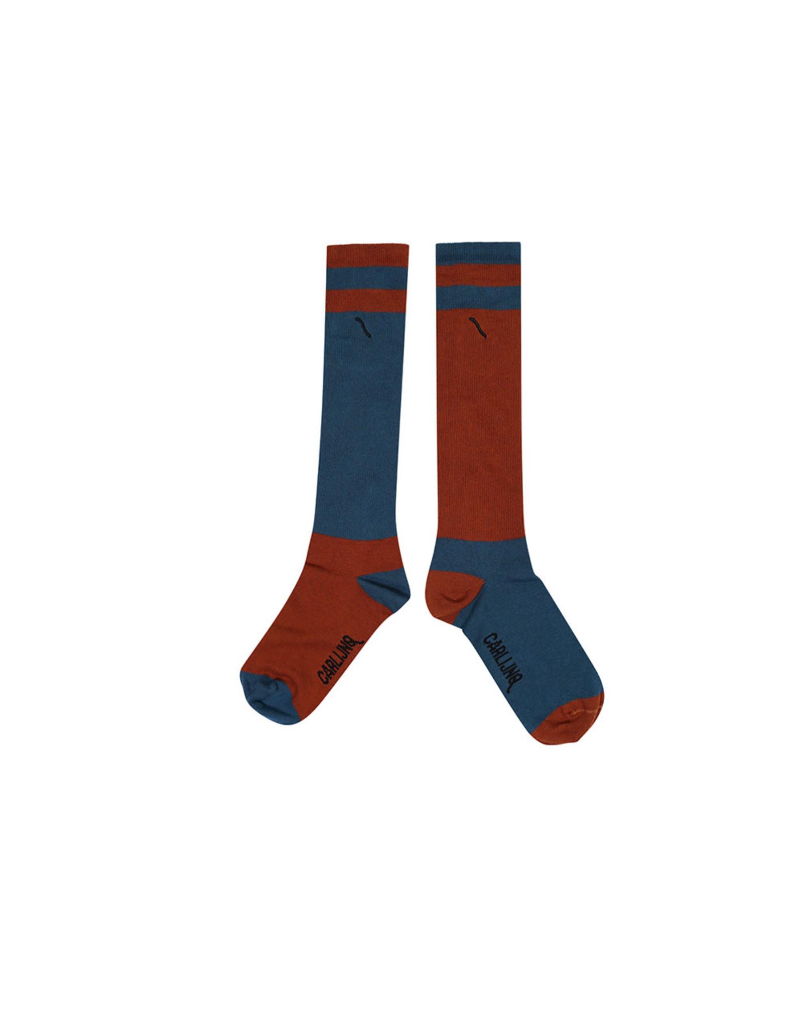 Carlijn Q Carlijn Q Knee Socks - Color Block Ginger/Blue