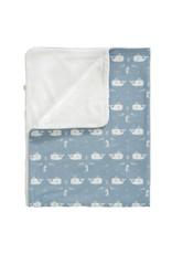 Fresk Fresk Blanket Katoen/Velours Whale Blue Fog