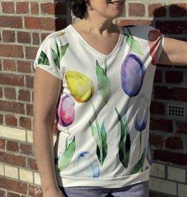 Signe Nature Oversized t-shirt met veelkleurige tulpen op voorkant