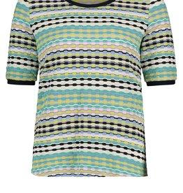 Betty Barclay Petrol/aqua/kiwi jaquard gebreide t-shirt