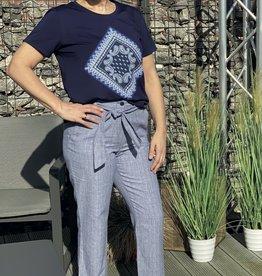 Gardeur Blauw wit geruite linnen broek Deba