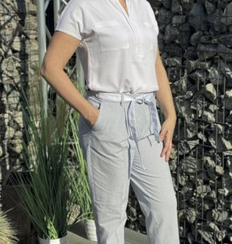 Gardeur Wit licht blauwe strepen broek met strik vooraan