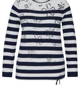 Rabe Katoenen trui met blauw witte strepen en bloemen