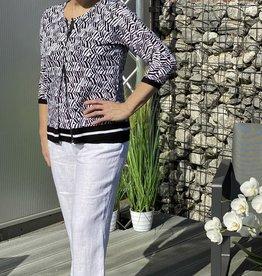 Signe Nature Witte linnen broek met elastiek in taille