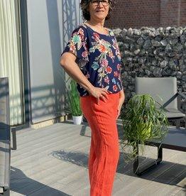 Signe Nature Oranje linnen broek met elastiek in taille