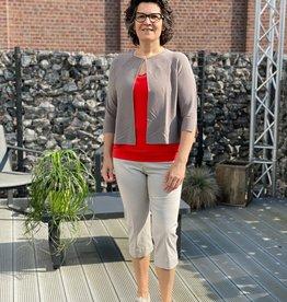 Raphaëla by Brax Beige 3/4 broek met elastiek in taille