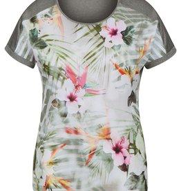 Rabe Tropisch t-shirt met aangeknipte mouw