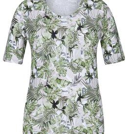 Rabe T-shirt met tropische print in kaki tinten