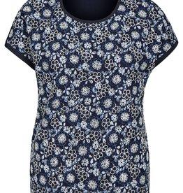 Rabe Blauw wit bloemen kanten t-shirt met aangeknipte mouw