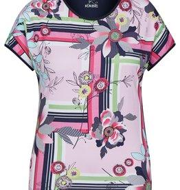 Rabe T-shirt met abstracte en bloemen print
