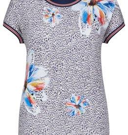 Rabe T-shirt met aangeknipte mouw met tijgerprint en bloemen