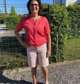 Angels jeans Wit met rode fijne streep Bermuda tu