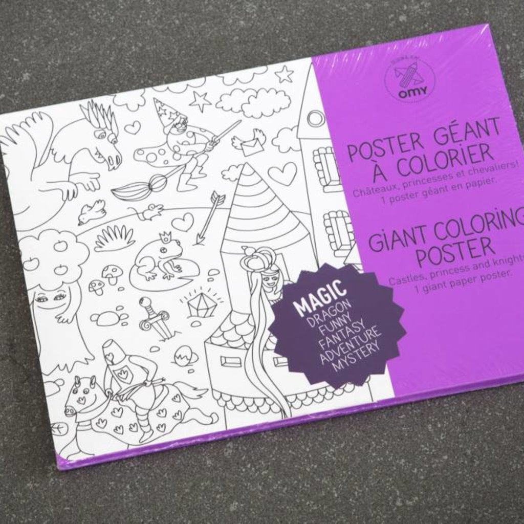 OMY OMY Giant Coloring Poster - Castles, princesses & knights!