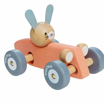 Plan Toys Rabbit racing car (pastel)