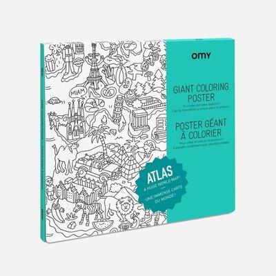 OMY Poster géant à colorier Atlas
